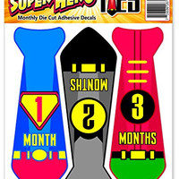 Month Stickers for Baby Boy | Super Hero Neck Tie | Use Photo Prop, Wall Decor or Shower Gift | First Year Growth Monthly Milestones Professional Decal Set for Onsies