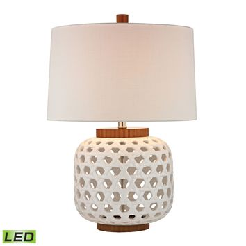 D346-LED Woven Ceramic LED Table Lamp in White And Wood Tone