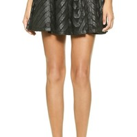 alice + olivia Zoe Leather Ribbon Applique Skirt
