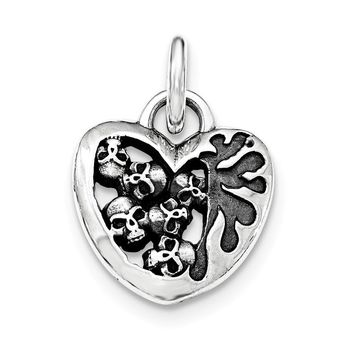 Sterling Silver Antiqued Heart Skull Pendant