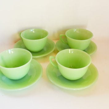 Jadeite Cups and Saucers, Fire King Jane Ray Tea Cups,  4 Sets Jadite Cups and Saucers, Vintage Green Glass Teacups, Anchor Hocking Glass