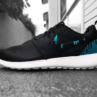 Custom Nike Roshe Run sneakers, teal blue drip, Slime, Men or women unisex sizes available