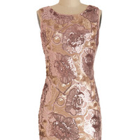 ModCloth Short Sleeveless Sheath Moonlight and Rose Gold Dress