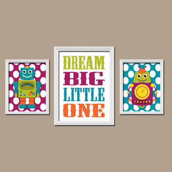 Robots Colorful Green Turquoise Orange Purple Dream Big Little One Quote Polka Dot Set of 3 Trio Prints Decor WALL ART Boy Girl Baby Bedroom