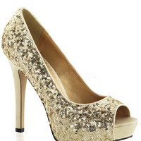 Fabulicious Lumina Gold Sparkle Slip On Pumps