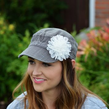 Women's White Denim Hat