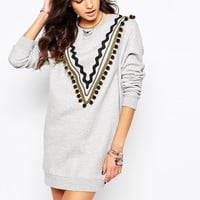 Reclaimed Vintage Oversized Sweat Dress With Tassel Trim Detail
