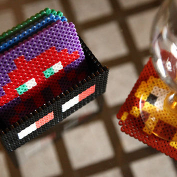 Space Invaders Coaster Set 4 Space Invaders Coasters by BeadxBead