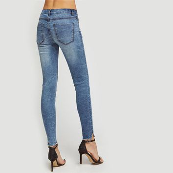 Ripped Skinny Jeans Summer Blue