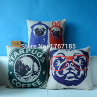 2015 Cute Pug Pillowcase Fashion Funny Dog Linen Cotton Cushion Pillow Decorative Pillow Home Decor Throw Pillow Cushion 45*45
