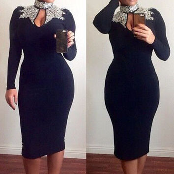Hot sale 2016 long sleeve autumn winter women office dresses elegant Black Gold Sequins Mock Neck bodycon Midi dress Plus size
