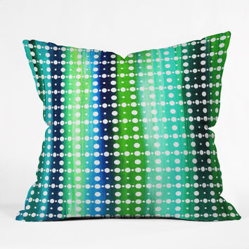 Madart Inc. Sea of Whimsy Stripes And Circles Outdoor Throw Pillow