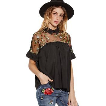 Flower Embroidered Sheer Ruffle Cuff Tie Back Blouse