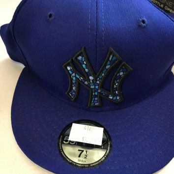 NWT NEW YORK YANKEES BLUE STAINED GLASS LOOK 5950 NEW ERA FLAT BRIM FITTED HAT