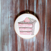"Cake Embroidered Hoop Art-Cake Hoop Art-Embroidered Wall Hanging-Home & Kitchen Decor-8"" Cake Hoop Art"