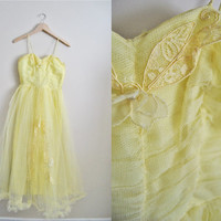Yellow Tulip - Vintage 50s Tulle Wedding Prom Party Dress Embroidered
