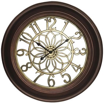 "Westclox 22.75"" Wall Clock With Antique Bronze & Gold Finish NYL32946B"