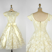 1950s Yellow Wedding Dress / Vintage Lace Easter by DalenaVintage