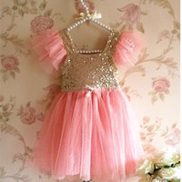 Girls Sequins princess dress 2014 summer new children tulle tutu dress branded girls Suspender Dress kids party dress 3584