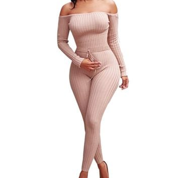 Chloe Off Shoulder Knit Bodycon Jumpsuit - Pink