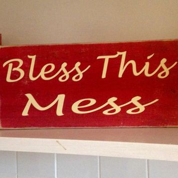 12x6 Bless This Mess Wood Sign