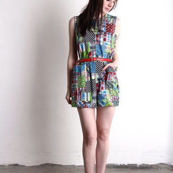 Patchwork Romper . 1960s One Piece Shorts