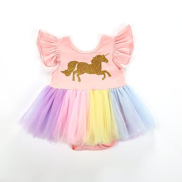 2018 Newborn Baby Girls Unicorn Flying Sleeve Tutu Lace Dress Patchwork Colorful Cute Romper Outfits