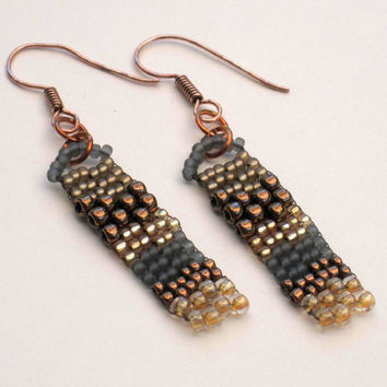 Wave Earrings Bronze Gold Gray Beaded Freeform Peyote Gifts under 10