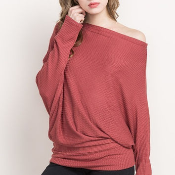 Rust Waffle Knit Multiway Sweater