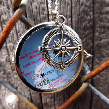 Shadowbox Glass Locket- Map/Customized Necklace, Compass Charm