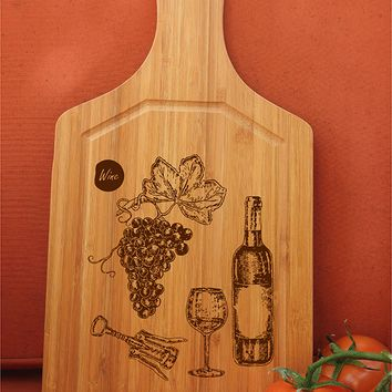 ikb333 Personalized Cutting Board Wood wine glass grapes kitchen restaurant