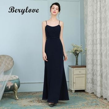 BeryLove Sexy Mermaid Evening Dresses Long Spaghetti Straps Prom Dresses 2018 Women Formal Evening Dresses Prom Gowns For Party