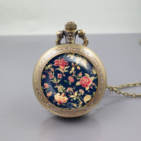 Vintage Floral Pocket Watch Locket Necklace,Vintage Embroidery Floral,vintage pendant Pocket Watch Locket Necklace