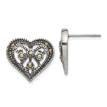 Stainless Steel Marcasite Textured Heart Post Earrings