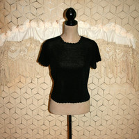 Vintage Black Crop Top 80s Knit Top Short Sleeve Goth Edgy 1980s Clothing Scalloped Womens Tops Black Top Small Womens Clothing