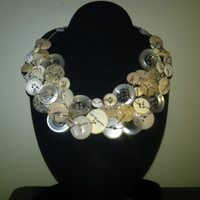 Ivory, Beige and Translucent Button and Wire Camail Necklace