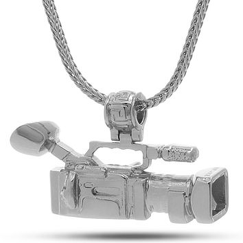 The White Gold Mounted Shoulder Camcorder Necklace
