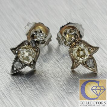 1850s Antique Victorian Georgian Platinum Gold Fleur-de-lis Diamond Stud Earring