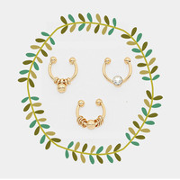 Small Gold Fake Septum Piercing Set, Clip On Nose Ring Set of 3