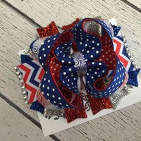 Girls 4th of July Hair Bow, OTT Hair Bows, Baby Bows, Hair Clips, Headbands, Newborn Hair Bows, Baby Girl Hair Bows, Patriotic Hair Bow