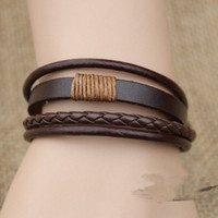 Chocolate Leather and Cotton Ropes Woven Men Leather Bracelet, Women Leather Bracelet, Unisex Bracelet  T015