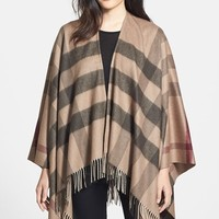 Women's Burberry Check Print Wool & Cashmere Scarf - Brown