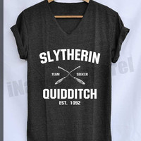 Slytherin Quidditch Shirt Harry Potter Shirts V-Neck Unisex S M L