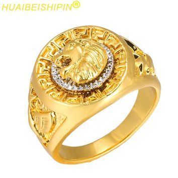 HUAIBEISHIPIN Fashion Gold and Silver Colors Classic Men's Punk Style Hip Hop Ring Band Cool Lion