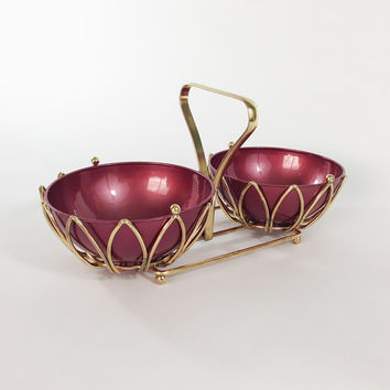 Mid Century Modern Candy Dish Serving Set / Gold Metal Basket with Purple Melamine Bowls