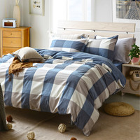Blue plaid teen comforter sets for single or double bed 100% Cotton bedcover Plaid bedding set (duvet cover+sheet+pillowcase)