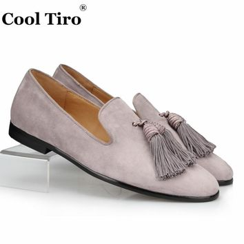 COOL TIRO Grey Suede Tassels Loafers Men Moccasins Slippers Genuine