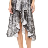 Printed Acid Wash Skirt