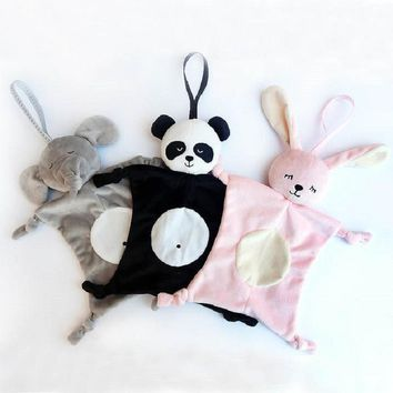 1 PC 28*28cm Cartoon Panda Rabbit Elephant Style Soothing Towel Baby Toys Soft Cloth Baby Bedtime Sleep Toy Kids Birthday Gift