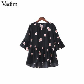 Women sweet ruffles floral pleated shirts butterfly sleeve o neck blouse ladies casual tops